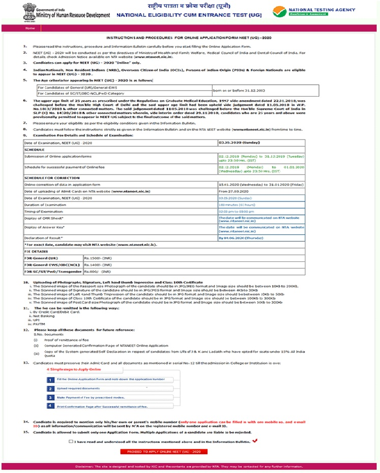 NEET Application Form 2021